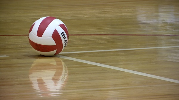 Volleyball on court.